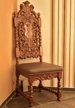 Krzesło Gdańskie rzeźbione oparcie