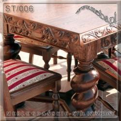 Stół rozkładany ręcznie rzeźbiony