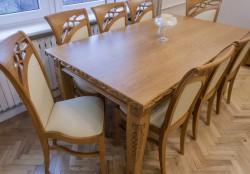 drewniany blat do stołu podrzeźbiany